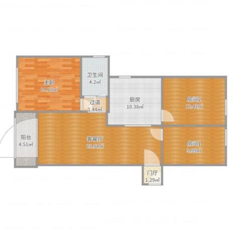 广福花园福欣苑1-10061室2厅1卫1厨103.00㎡户型图
