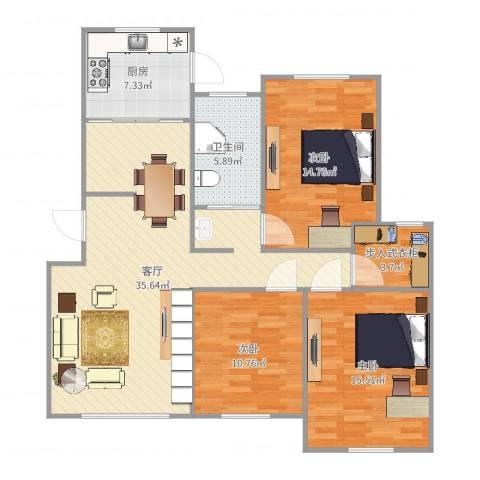 盛世华庭3室1厅1卫1厨117.00㎡户型图