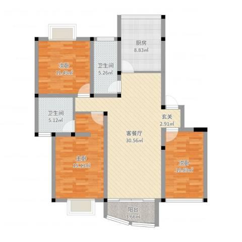 昆山花园3室2厅2卫1厨114.00㎡户型图