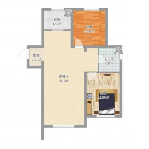 佳兆业・马德里王宫2室2厅1卫1厨88.00㎡户型图