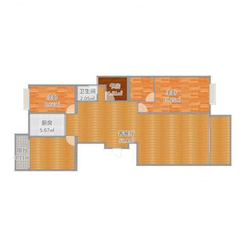 金丰花园3室2厅1卫1厨135.00㎡户型图