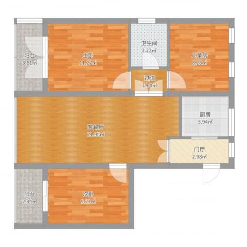 大三小区3室2厅1卫1厨86.00㎡户型图