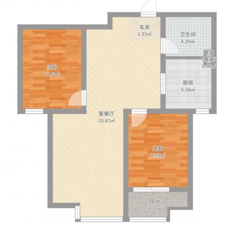 东方骏景2室2厅1卫1厨87.00㎡户型图