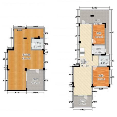 复地哥德堡森林三期墅香洋房2室2厅2卫1厨192.06㎡户型图
