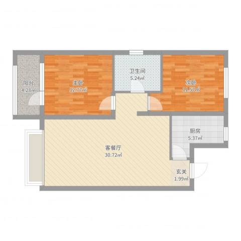 博辉万象城2室2厅1卫1厨87.00㎡户型图