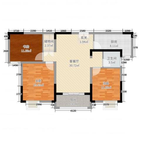 凤凰星城3室2厅1卫1厨111.00㎡户型图