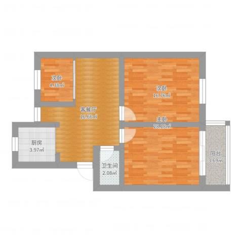 天津新村2室2厅1卫1厨74.00㎡户型图