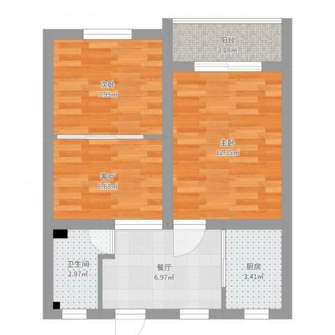 平南一村2室2厅1卫1厨54.00㎡户型图