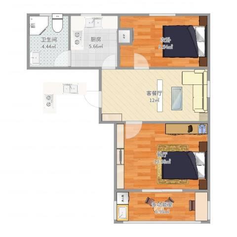宁阳小区1室3厅1卫1厨64.00㎡户型图