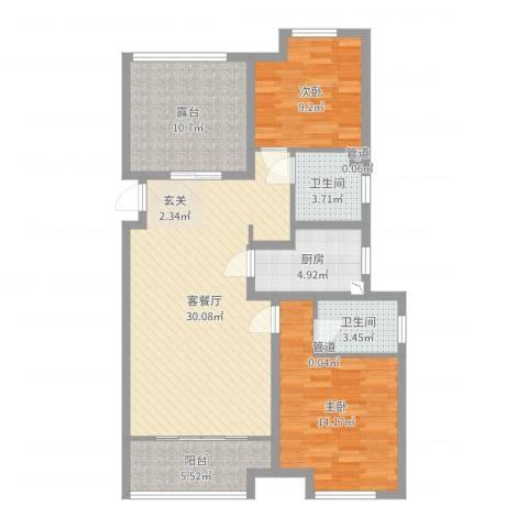 农房・名宿华府2室2厅2卫1厨102.00㎡户型图