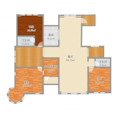 溪岸艺墅3室1厅2卫1厨209.00㎡户型图