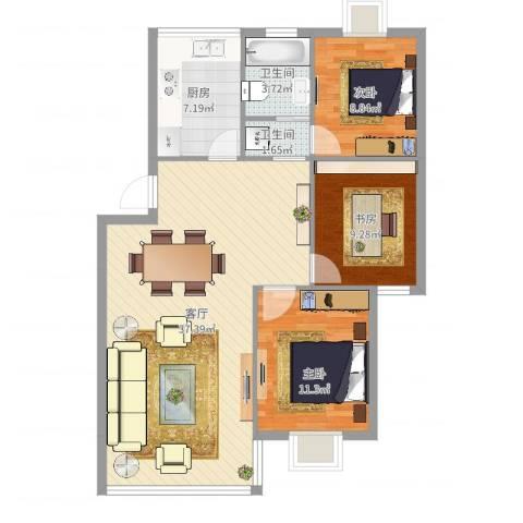 童王小区3室1厅2卫1厨99.00㎡户型图