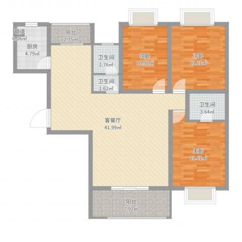 海滨壹号3室2厅3卫1厨129.00㎡户型图