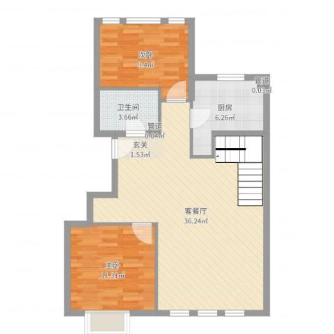 大运河孔雀城2室2厅1卫1厨84.00㎡户型图