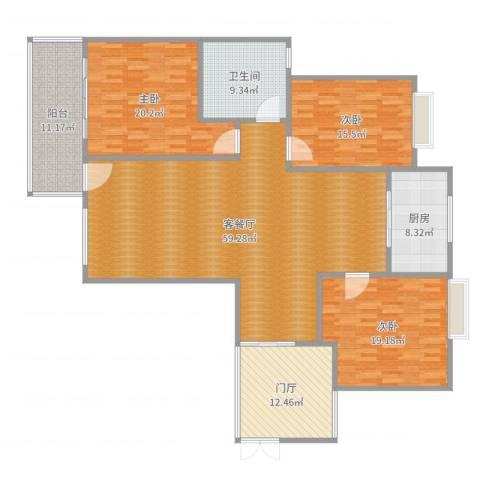 世纪城龙晖苑44栋现代、工业风、北欧混搭风格3室2厅1卫1厨155.45㎡户型图