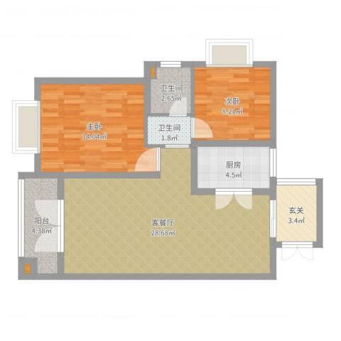 电信花园2室2厅2卫1厨85.00㎡户型图