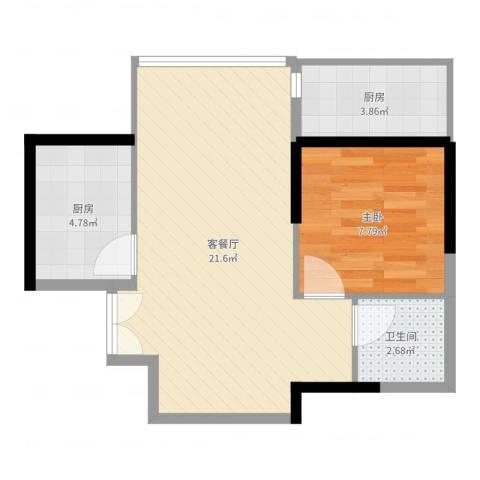 顺峰山语1室2厅1卫2厨51.00㎡户型图