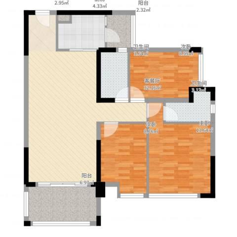 新怡・美丽家园3室2厅2卫1厨120.00㎡户型图