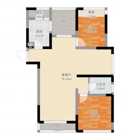 莱茵花苑2室2厅1卫1厨97.00㎡户型图