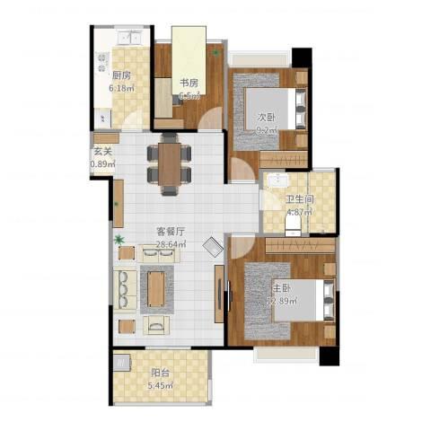 金地湖城艺境3室2厅1卫1厨92.00㎡户型图