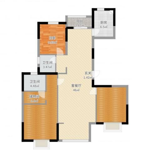 绿地泊林公馆1室2厅2卫1厨136.00㎡户型图