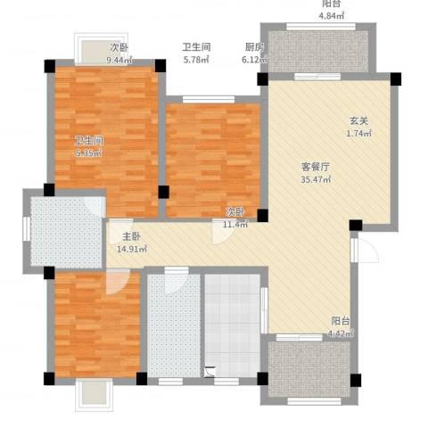 印象地中海3室2厅2卫1厨122.00㎡户型图