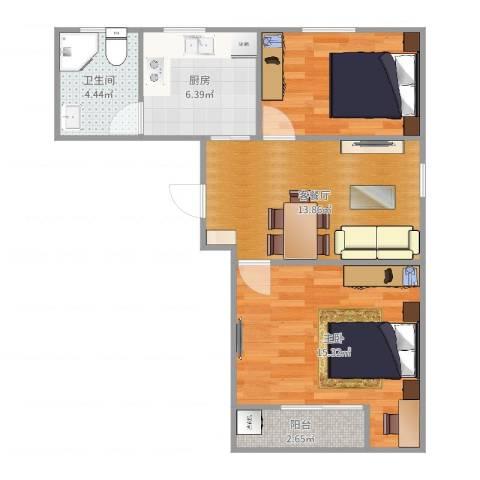 宁阳小区1室2厅1卫1厨65.00㎡户型图