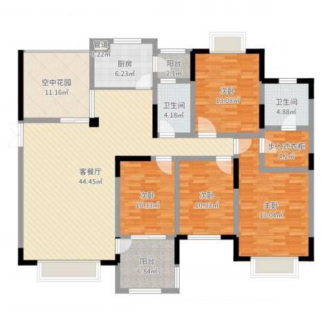 维多利亚公寓4室2厅2卫1厨169.00㎡户型图