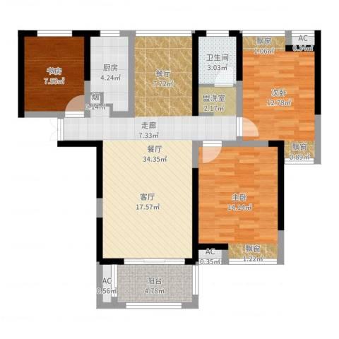 联发君悦湖3室1厅1卫1厨103.00㎡户型图