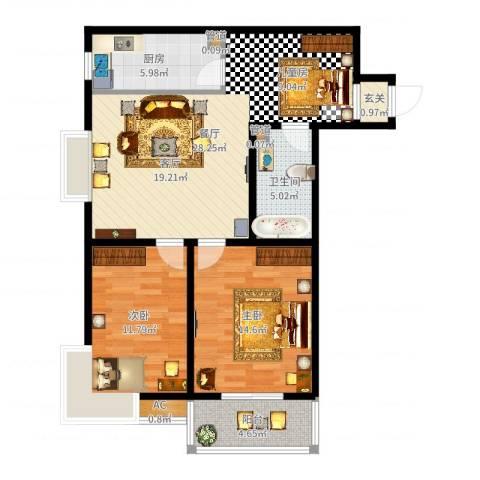 幸福香寓2室1厅1卫1厨90.00㎡户型图