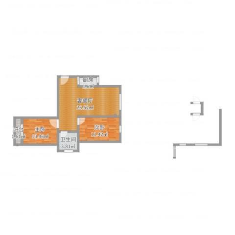 沁园春居2室2厅1卫1厨69.00㎡户型图