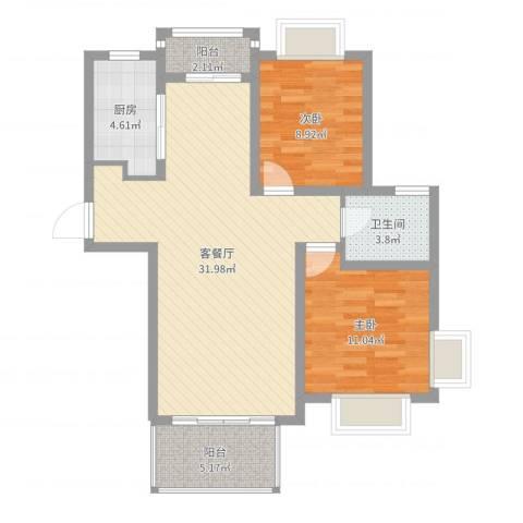 月星公馆2室2厅1卫1厨85.00㎡户型图