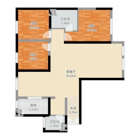巨华世纪城二期和谐园3室2厅2卫1厨120.00㎡户型图