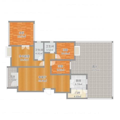 远大都市风景3室2厅2卫1厨224.00㎡户型图