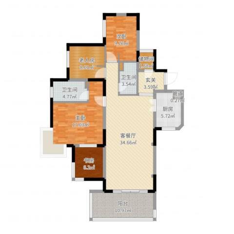 万科金色家园4室2厅2卫1厨133.00㎡户型图