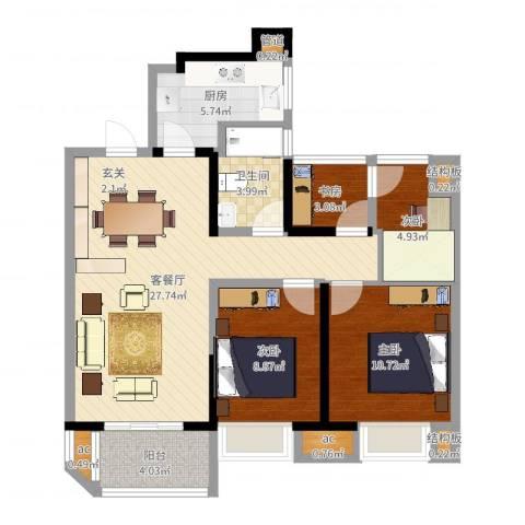 金地湖城艺境4室2厅1卫1厨89.00㎡户型图