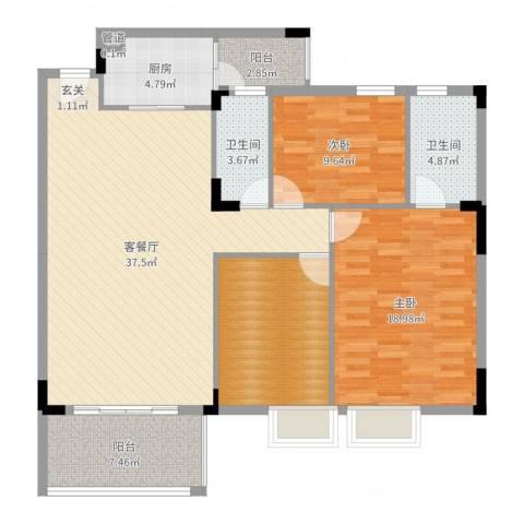 人盛假日花园2室2厅2卫1厨126.00㎡户型图