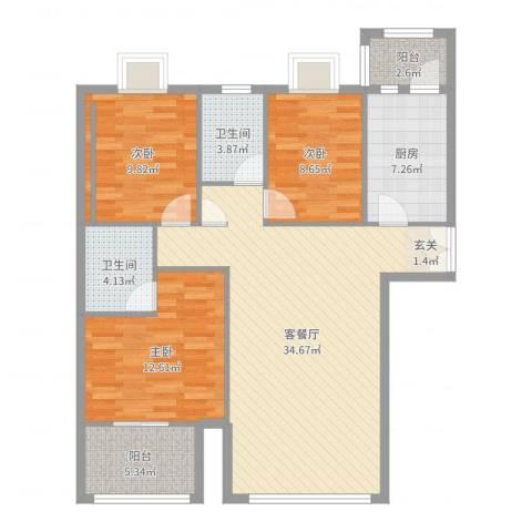 顺义区金汉绿港3室2厅2卫1厨111.00㎡户型图