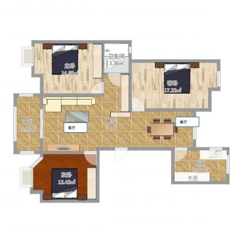 农房・英伦尊邸3室1厅1卫1厨119.00㎡户型图