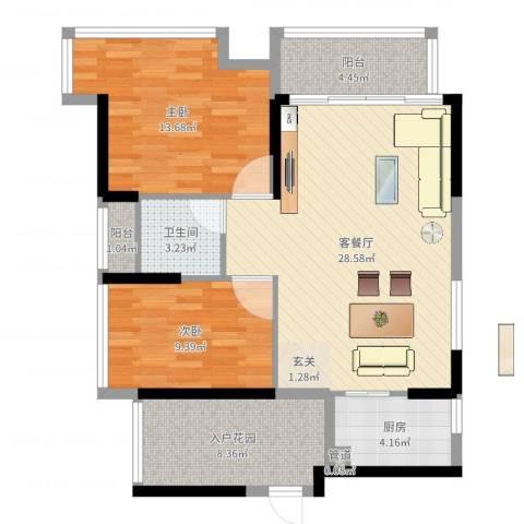熙龙小镇2室2厅1卫1厨91.00㎡户型图