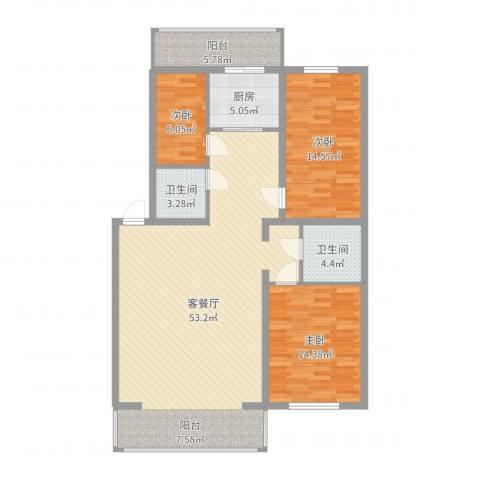 净馨家园3室2厅2卫1厨133.00㎡户型图