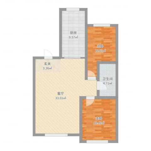 红日・城市假日花园2室1厅1卫1厨87.00㎡户型图