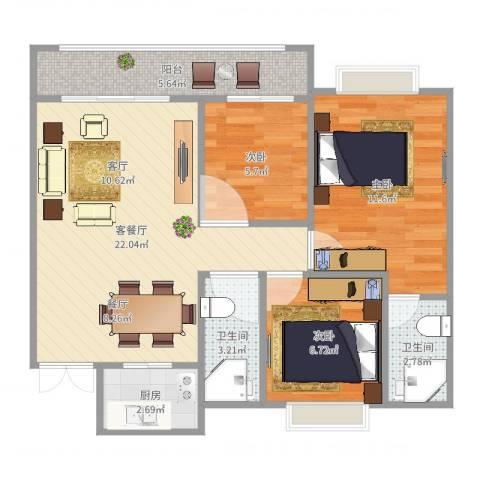 翡翠山河3室2厅2卫1厨75.00㎡户型图