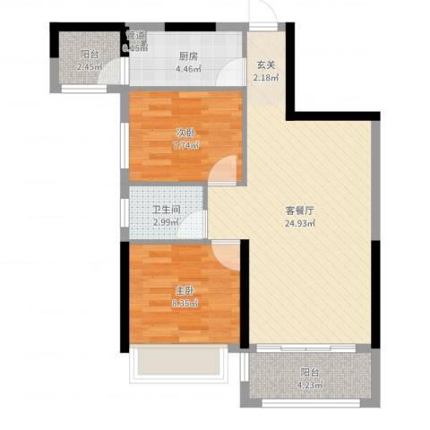 新园华府2室2厅1卫1厨69.00㎡户型图