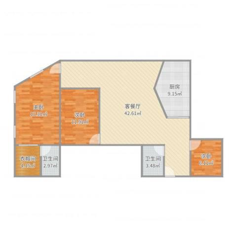 东洲花园3室2厅2卫1厨122.00㎡户型图