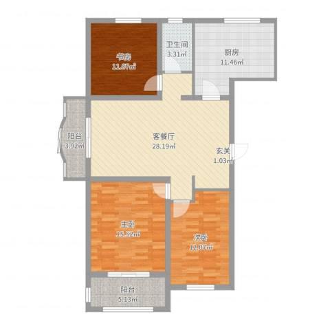 龙溪香岸3室2厅1卫1厨113.00㎡户型图