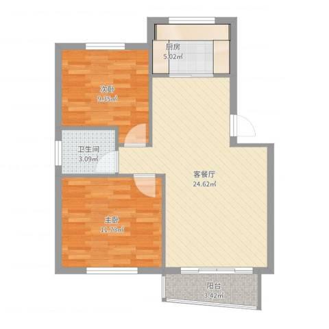 香洲田园城2室2厅1卫1厨72.00㎡户型图