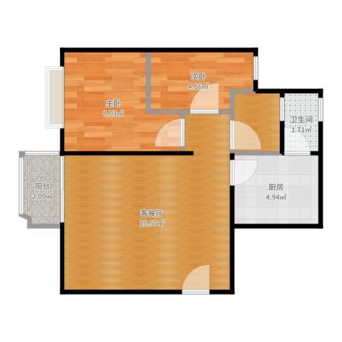 创世纪滨海花园2室2厅1卫1厨55.00㎡户型图