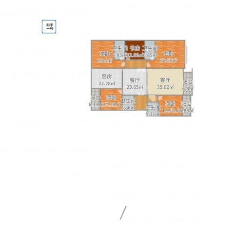 枫林.和平花园5室2厅4卫1厨310.00㎡户型图