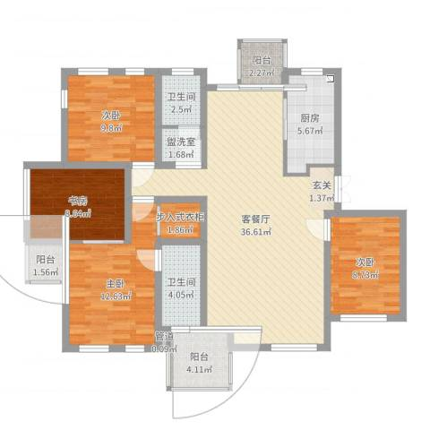 万科西街庭院4室4厅2卫1厨125.00㎡户型图